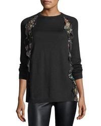 Wool sweater w floral print ruffle medium 4984243