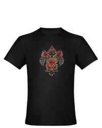 Artsmith Inc Org Fitted T Shirt Drk Floral Fleur De Lis