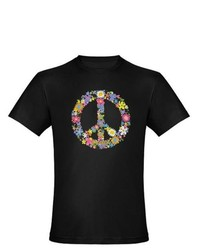 Artsmith Inc Org Fitted T Shirt Drk Floral Peace Symbol
