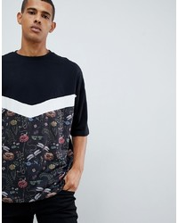 ASOS DESIGN Oversized T Shirt With Half Sleeve And Floral Chevron Panel