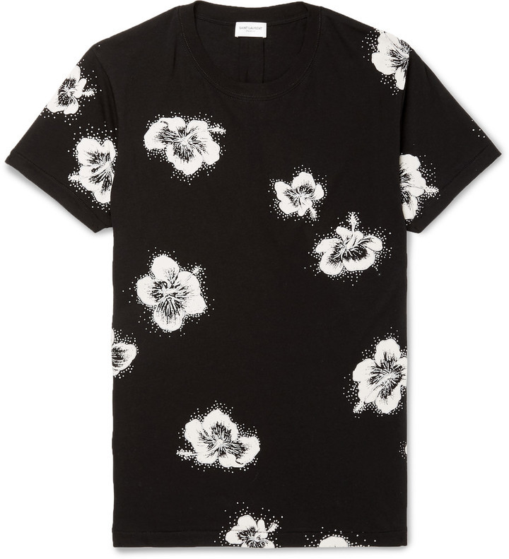 a88e369e3e2a ... Saint Laurent Slim Fit Glitter Floral Print Cotton Jersey T Shirt ...