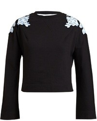 Carven Floral Appliqued Cropped Cotton Sweatshirt