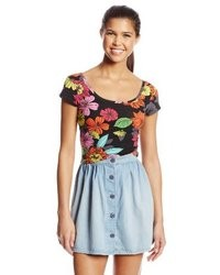 Derek Heart Juniors Floral Print Crop Top