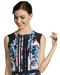 Elizabeth and James Elizabeth James Blue Floral Printed Silk Pia Cropped Blouse