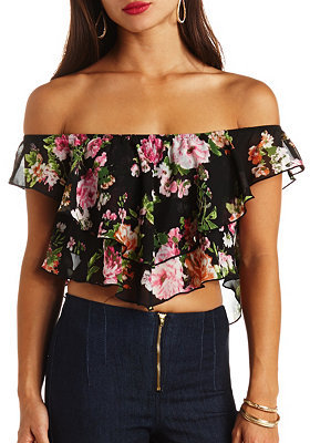 e6e0b7eddc1 ... Black Floral Cropped Tops Charlotte Russe Floral Print Chiffon Off The  Shoulder Crop Top ...