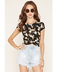 Forever 21 Floral Twist Front Crop Top