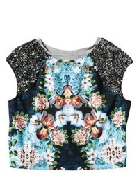 Jaya Apparel Group LLC Xhilaration Juniors Cropped Sequin Shoulder Top Floral Xl