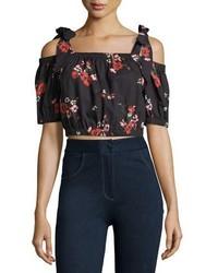 Rebecca Taylor Margurite One Shoulder Floral Poplin Crop Top Black