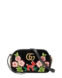 Gucci Small Gg Marmont 20 Matelasse Velvet Shoulder Bag