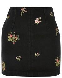 Topshop Moto Floral A Line Skirt