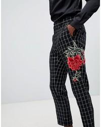 Black Floral Dress Pants