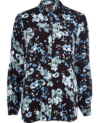 River Island Black Floral Long Sleeve Shirt