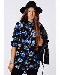 Missguided Soraya Floral Silk Feel Boyfriend Shirt Black