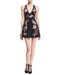 Marc Jacobs Floral Embroidered Sleeveless Fit Flare Minidress Black