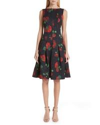 Oscar de la Renta Floral Jacquard A Line Dress