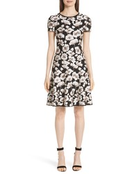 St. John Collection Floral Jacquard Fit Flare Dress