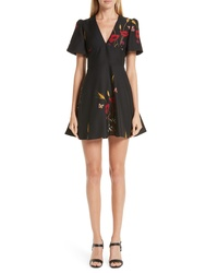 Valentino Floral Meadow Print Crepe Couture Dress