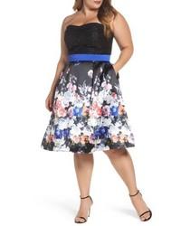 Mac Duggal Floral Print Strapless Fit Flare Dress