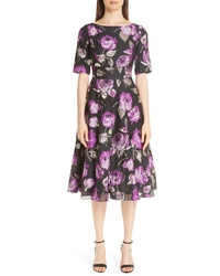 Lela Rose Metallic Floral Fil Coupe Fit Flare Dress