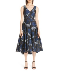 Lela Rose Metallic Floral Fil Coupe Fit Flare Midi Dress