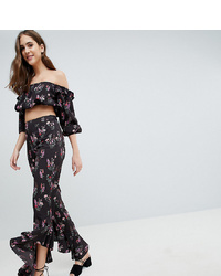Fashion Union Tall Trousers With Ruffle Hem In Vintage Floral Co Ord