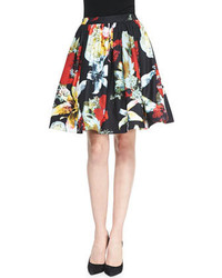 Alice + Olivia Pia Floral Print Pleated Full Skirt