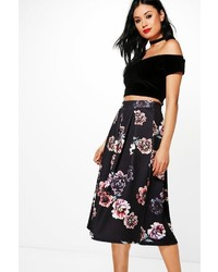 Boohoo Avianna Dark Floral Box Pleat Skater Skirt
