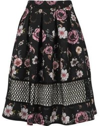 River Island Black Floral Print Mesh Insert Skirt