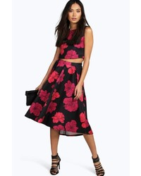 Boohoo Alba Floral Top And Frill Midi Skirt Co Ord Set