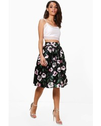 Boohoo Hope Floral Woven Box Pleat Midi Skirt