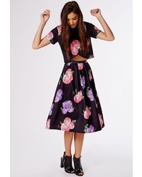 Missguided High Waisted Floral Print Full Midi Skirt Black