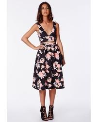 Missguided Tessa Floral Scuba Midi Skirt