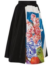 Prada Printed Silk Faille Midi Skirt