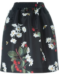 RED Valentino Floral Print Pleated Skirt With Two Inset Pockets To The Side