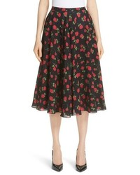 Michael Kors Rose Print Silk Tte Dance Skirt