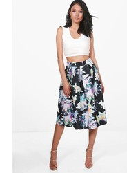 Boohoo Samera Floral Box Pleat Skater Skirt