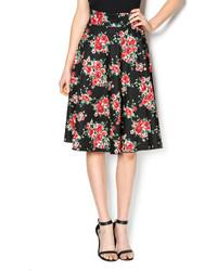 Sara Black Floral Skirt