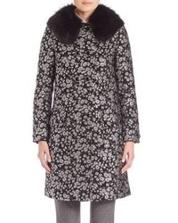 Michael Kors Michl Kors Collection Fur Collar Floral Jacquard Coat