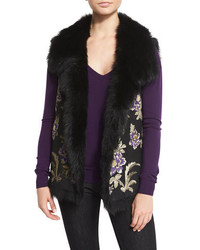 Ralph Lauren Collection Ashton Floral Shearling Fur Vest Black