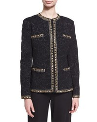 Etro Floral Brocade Jacket With Lurex Trim Black