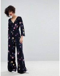 Mango Floral Button Detail Jumpsuit