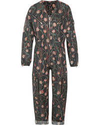 Isabel Marant Laney Floral Print Cotton And Linen Blend Jumpsuit Black