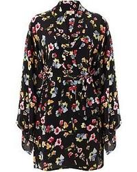 Alöe Black Silk Shanghai Floral Kimono