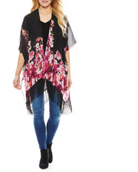 Asstd National Brand Yellow And Blue Floral Tapered Fringe Kimono