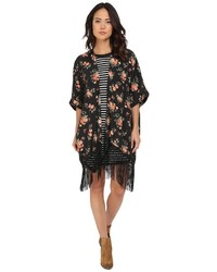 BB Dakota Jack By Rosalynn Rose Revival Printed Crepon And Black Fringe Kimono