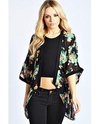 Boohoo Alexa Black Floral Kimono