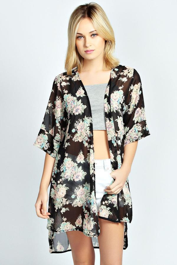 226dd82f60589 Boohoo Harper Floral Print Longline Kimono, $30 | BooHoo | Lookastic.com