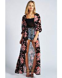 Boohoo Ivy Floral Print Chiffon Long Kimono