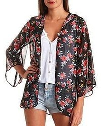 Charlotte Russe Sheer Floral Print Kimono Top