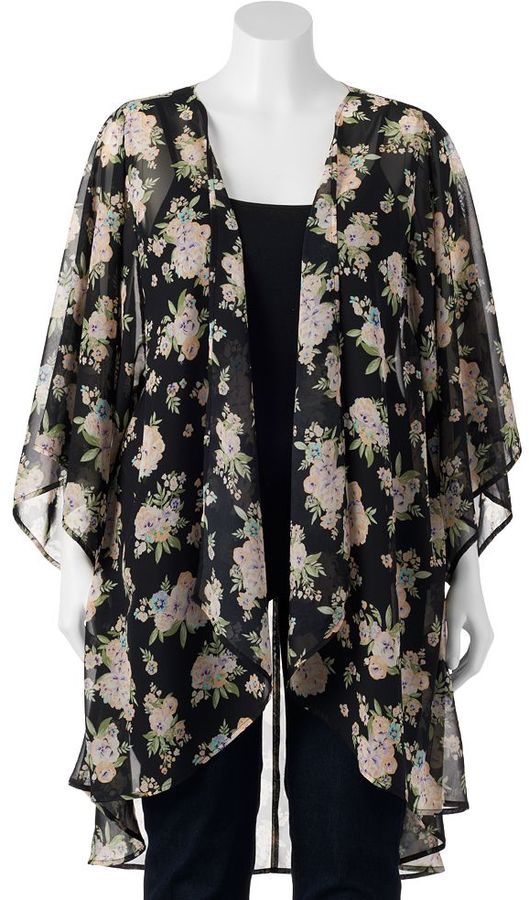 Mudd Chiffon Kimono Cardigan Juniors Plus | Where to buy & how to wear